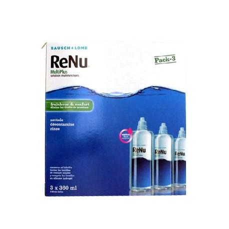 Bausch + Lomb Renu multiplus fraicheur et confort solution multifonctions lentilles souples 3 flacons de 360ml + 3 étuis