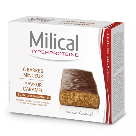 Milical Barres Hyperprotéinées Saveur Caramel 6 barres