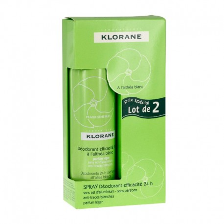 Klorane déodorant spray à l'althéa blanc 2 x 125ml